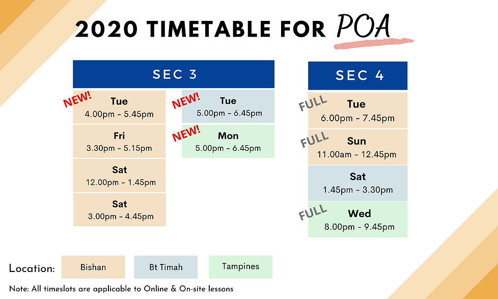 POA Tuition Timetable 2020