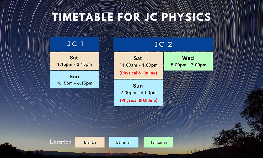 Timetable for JC Physics   On-site and online lessons available