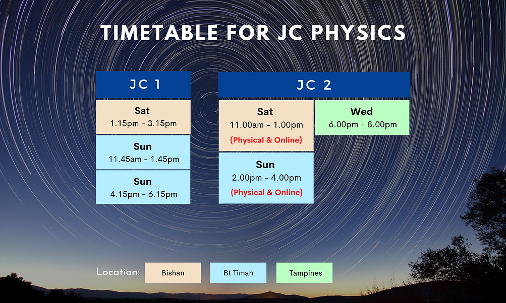 Timetable for JC Physics | On-site and online lessons available