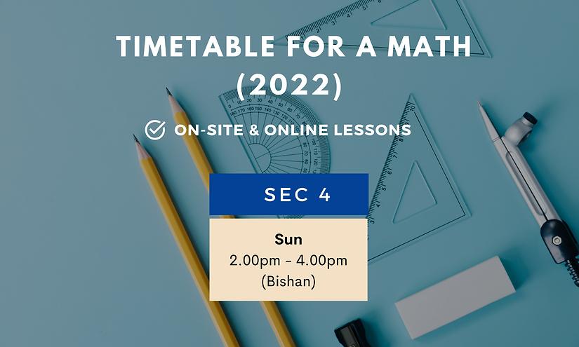 SG Math O Level A Math Tuition Schedule 2022