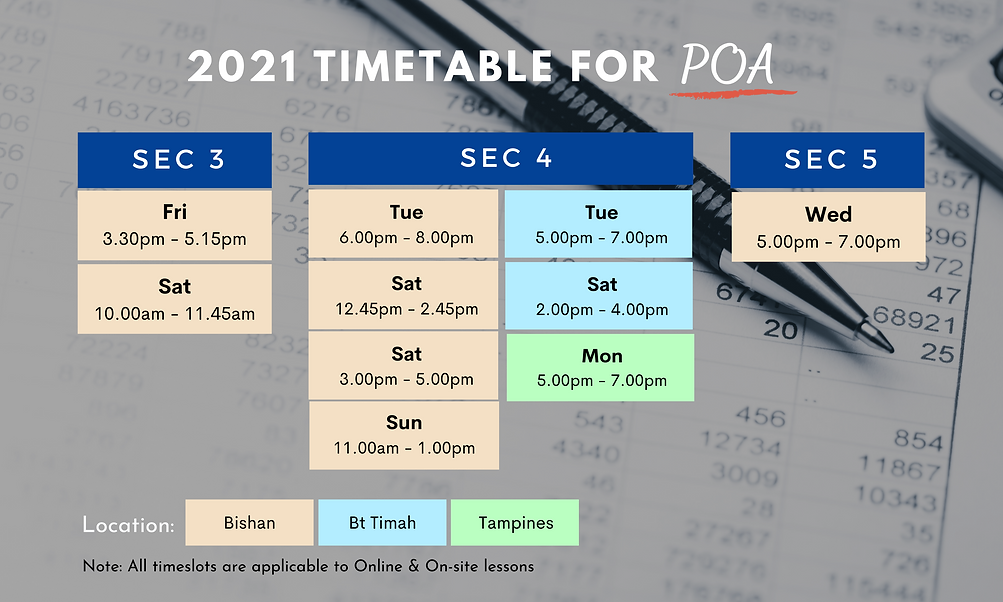 2021 POA Timetable | Sec 3, 4 and 5