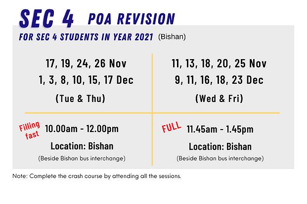 POA Holiday Crash Course Schedule