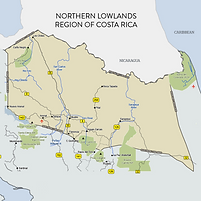 Costa Rica Northern Lowlands Map