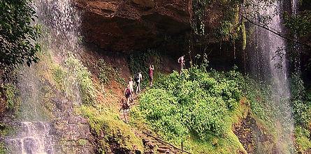 Hiking under Waterfall in Costa Rica