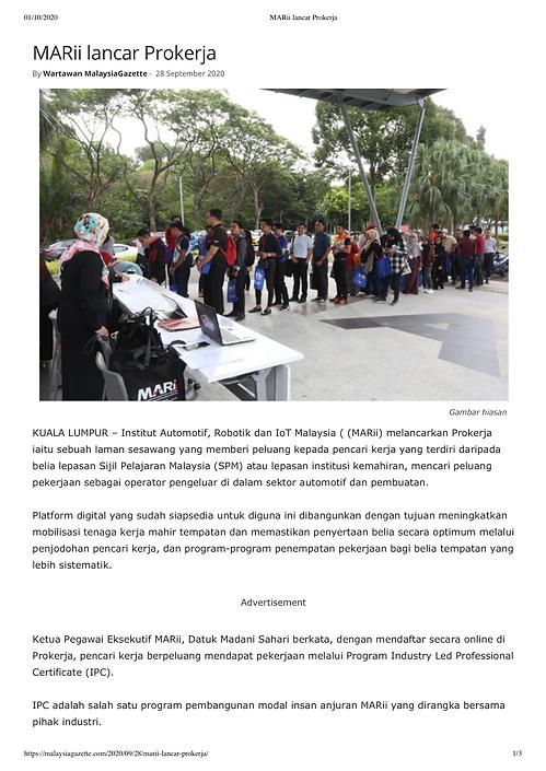 MARii lancar Prokerja (Malaysia Gazzete)