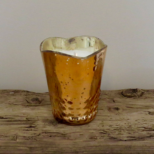 Rose Gold Scalloped Glass Soy Candle