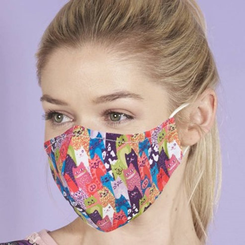 Eco Chic Reusable Face Mask Stacking Cats