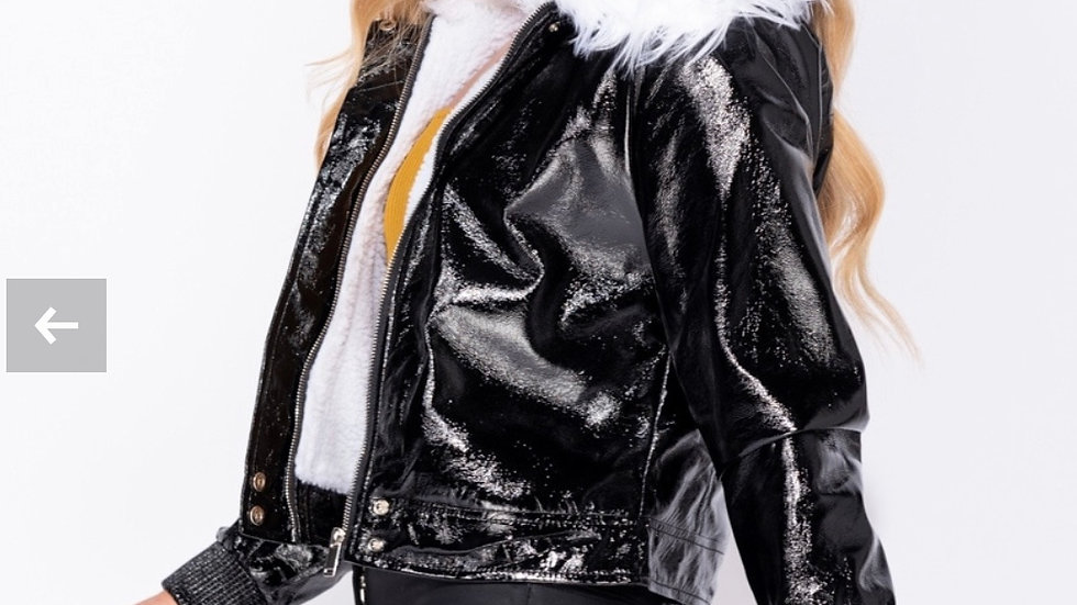 Black Jacket With White Collar
