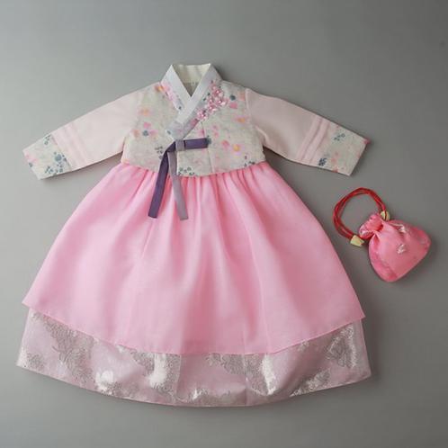 捺染ピンク花オフホワイト 100日~1歳用