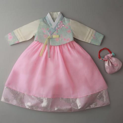 捺染ピンク花空色 100日~1歳用