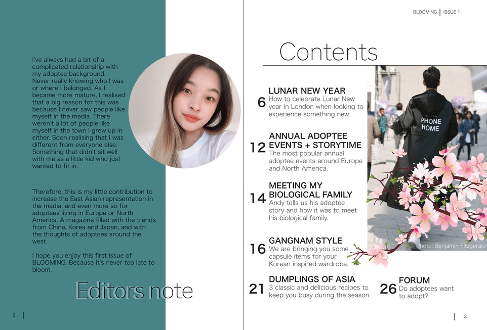 Blooming Magazine Issue 1 - page 2 and 3