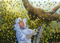 "Watercolor, ""Bee Keeper"""