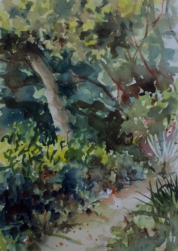 "Watercolor, ""Path to my Studio"""