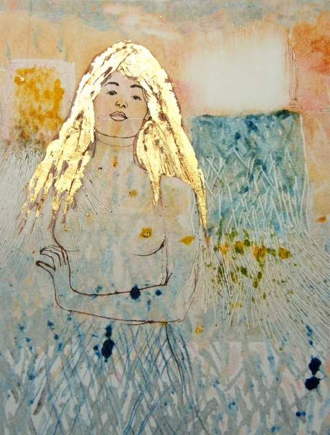 Monoprint, Goldilocks""