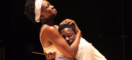 Katherine Turner and Rotimi Agbabiaka as Sister and Boy in runboyrun