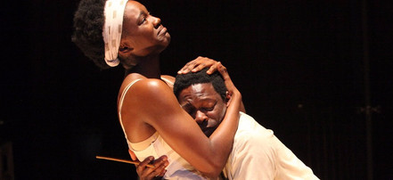 Katherine Turner and Rotimi Agbabiaka as Sister and Boy in runboyrun