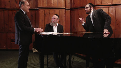 Martin Widerker, Pianist Menachem Bristowski and Cantor Yaakov Rosenfeld