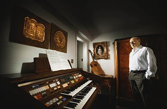 Martin Widerker in his music room