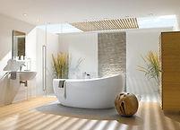 Contemporary Bathroom Design with a Resin Soak Tub, Custom Wall Tile Design, Sky Light, Lighting Plan, Bamboo Design, Modern Bath Design