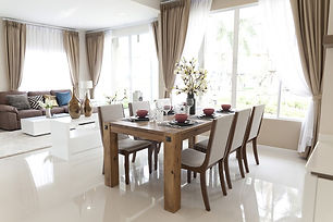 Open Concept Living and Informal Dining Area; Window Drapery Panels with Sheers