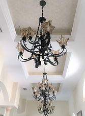 Oil Rubbed Bronze Uttermost Chandeliers in Custom Ceilling Risers