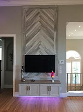 Chevron Wall Tilel Design, Plantation Shutters, Custom Railing, Plank Floor