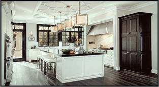 Transitional Kitchen Design, Island with Overhang & Seating, Ceiling Trim, Crown Molding, Custom Cabinetry, Granite, Tuxedo Kitchen, Plank Flooring, Contemporary Lighting, Marble Backsplash
