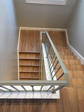 Custom Powder-Coated Stairway Railing and Plank Flooring with Edge Profile