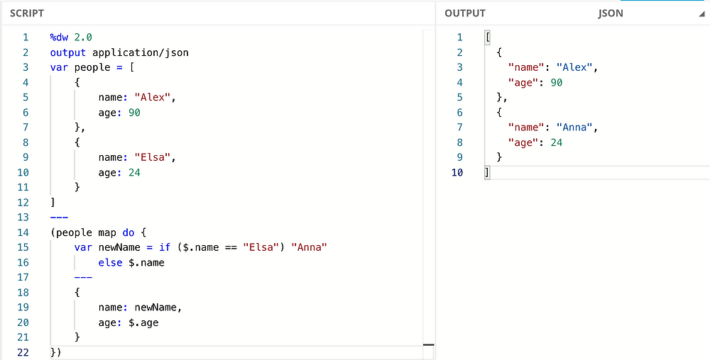 DataWeave Playground running the given script and showing the transformed output. Using var, map, do, if/else, and JSON.