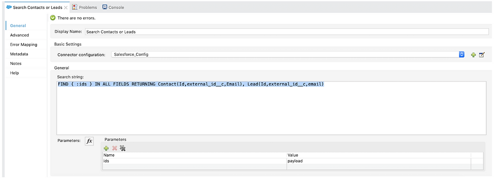 search contacts or leads search string mule 4 salesforce component