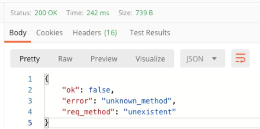 body pretty ok false error unknown method req method unexistent