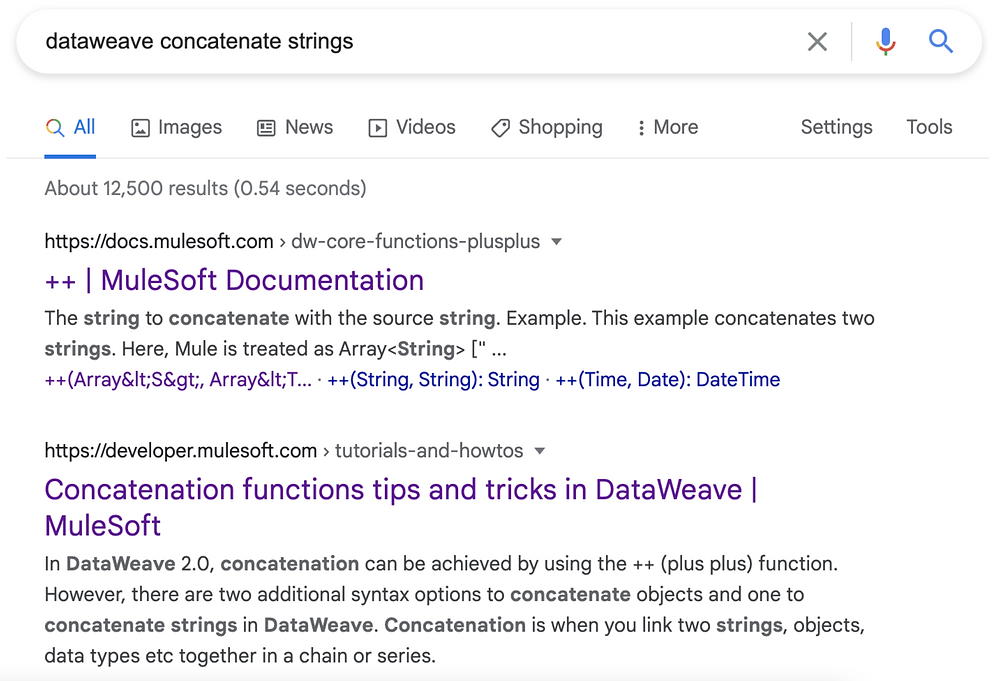 """Example of a Google search with the keywords """"dataweave concatenate strings"""""""