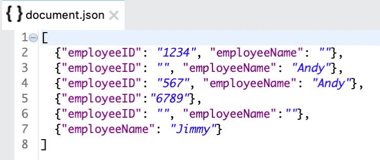 document json employeeid employeename