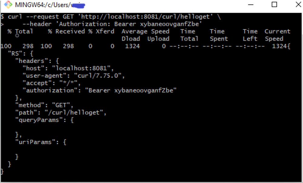 curl --request GET 'http://localhost:8081/curl/helloget' \ --header 'Authorization: Bearer xybaneoovganfZbe'