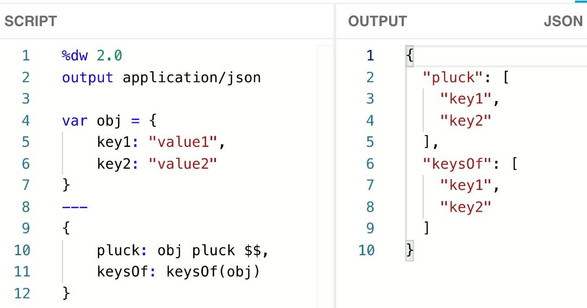 You can retrieve the keys of an object using one of these functions