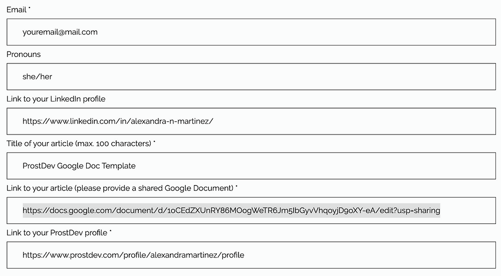 Contribute form found in ProstDev.com/contact to submit your content.