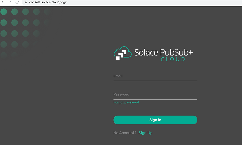 Solace PubSub+ Cloud login page