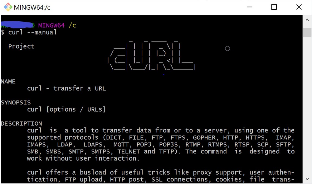 curl --manual Project NAME curl - transfer a url SYNOPSIS curl [options / urls] DESCRIPTION curl is a tool to transfer data from or to a server...