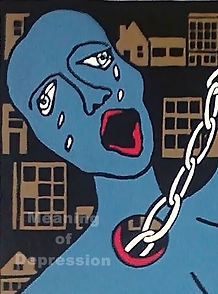 Crying woman, depressed, chains of depression