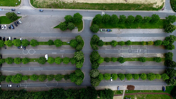 Aerial Photo of a Parking