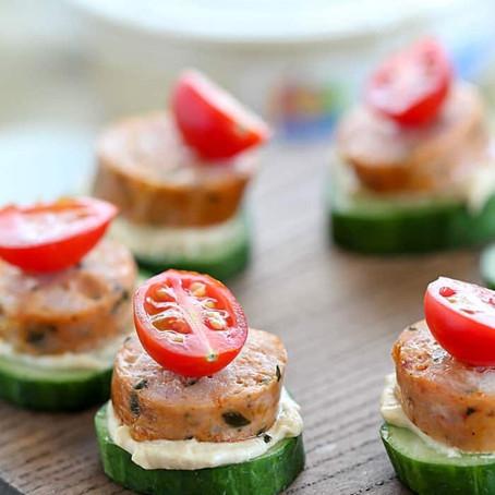 Sausage and Hummus Cucumber Bites