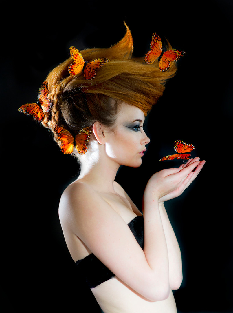 Alice with Butterflies for Hair Shoot by Sirastudio. Photographers in Harrogate.