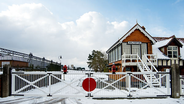Wolferton royal station in the snow
