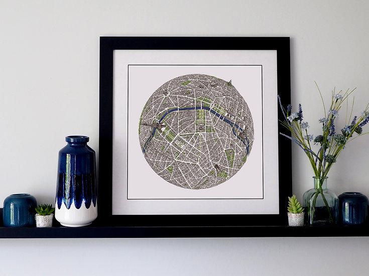 The Paris Globe (2018) Hand Drawn City Map Art