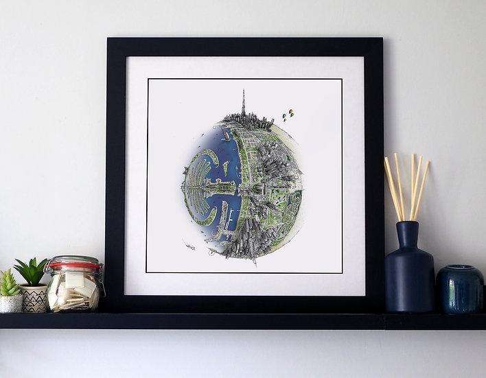 The Dubai Globe (2020) Hand Drawn City Map Art