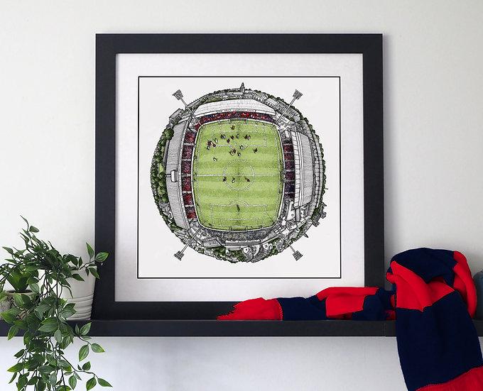 The Bootham Crescent Globe (2020) Hand Drawn York City FC Art