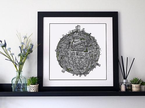 The Manchester Globe (2020) Hand Drawn City Map Art
