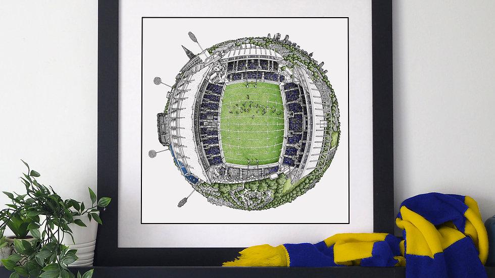 Headingley Stadium (2020) Hand Drawn Leeds Rhinos Art