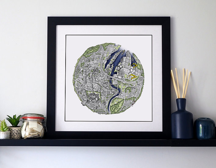 The Belfast Globe (2019) Hand Drawn City Map Art