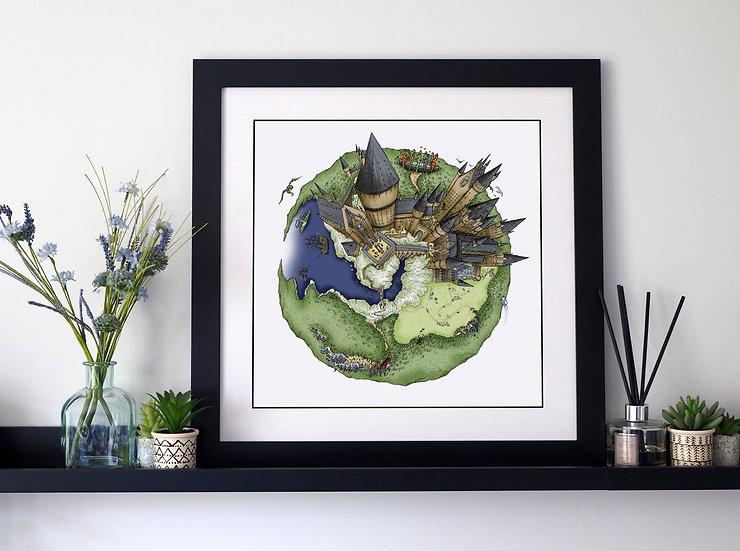 The Hogwarts Globe (2018) Hand Drawn City Map Art